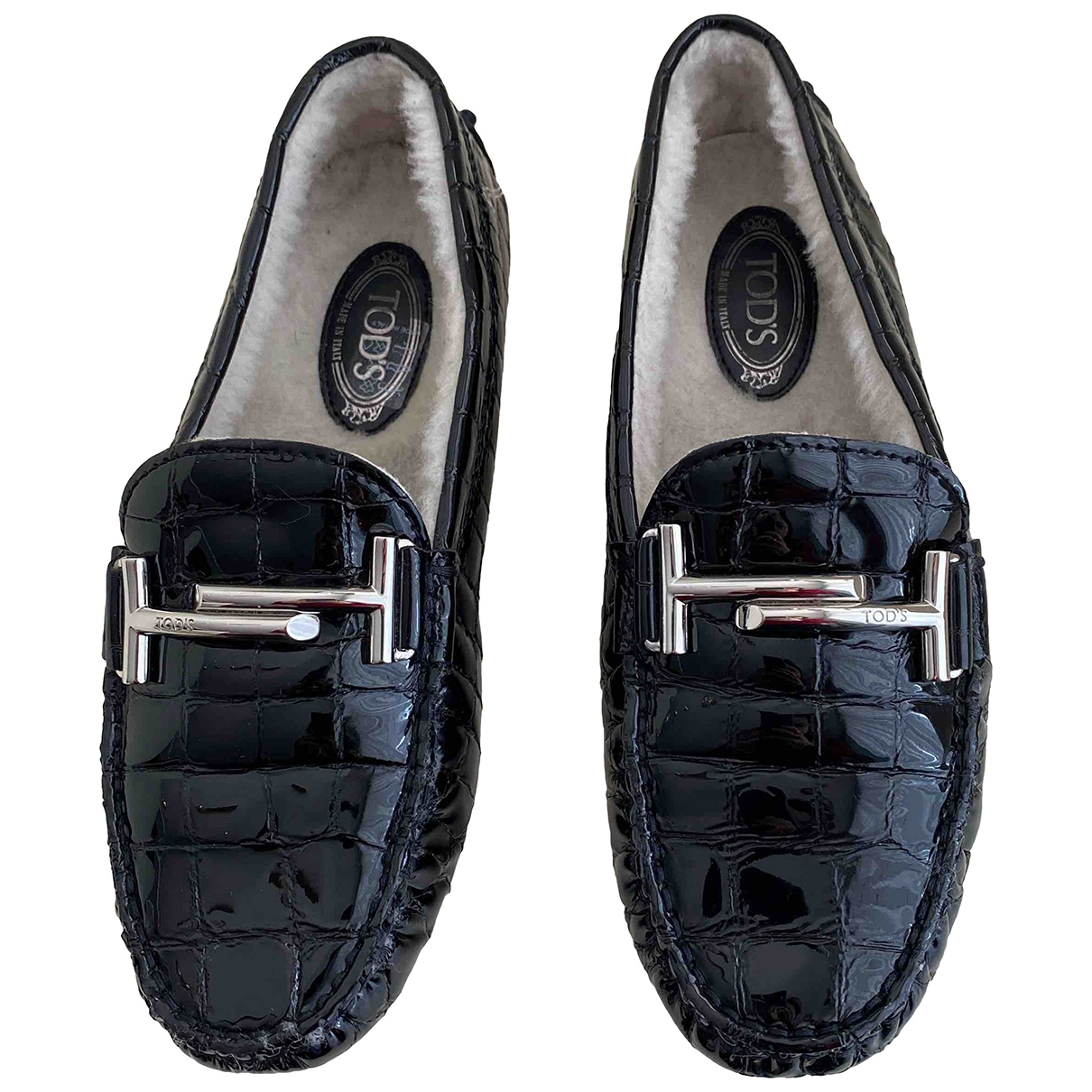 Tod's Gommino Black Patent leather Flats for Women 35 EU