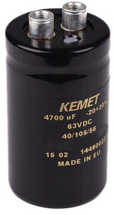 KEMET 4700μF Electrolytic Capacitor 100V dc, Screw Mount - ALS40A472DF100