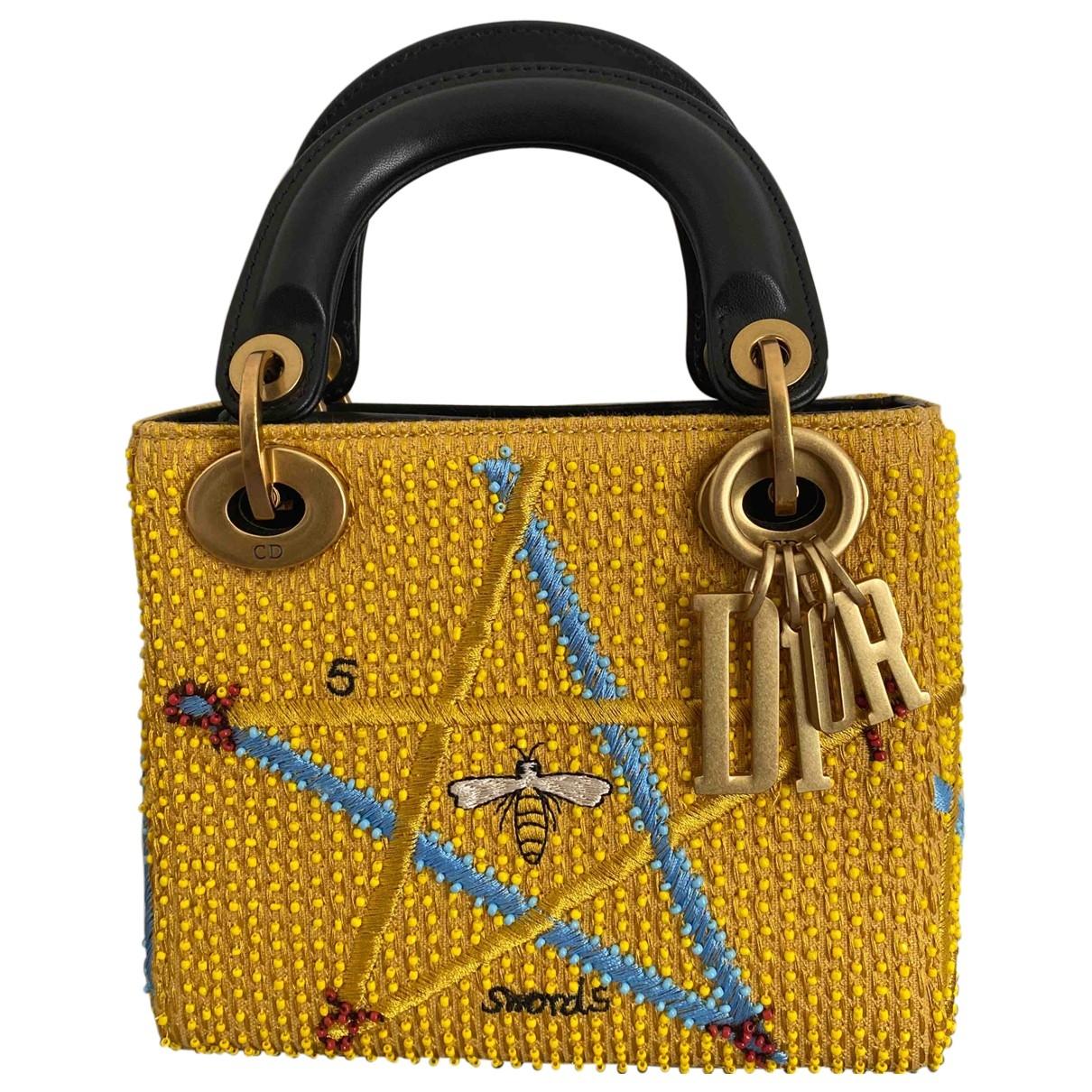Dior Lady Dior Yellow Cloth handbag for Women \N