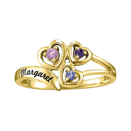 Womens Simulated Multi Color Stone 10K Gold Heart 3-Stone Cocktail Ring, 4 1/2 , No Color Family