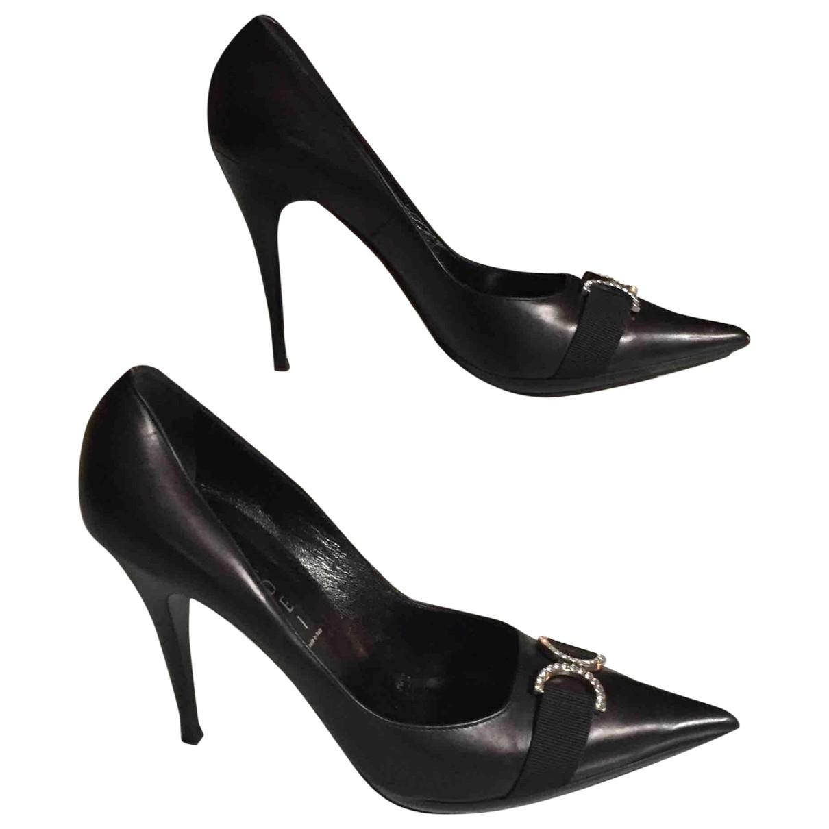 Casadei \N Black Leather Heels for Women 39 EU