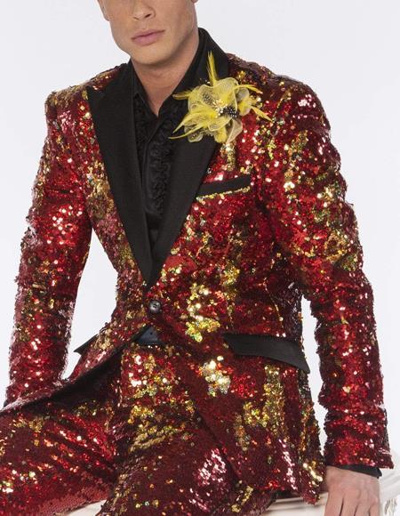 Mens Red and Gold Sequin For Men Sport Coat Tuxedo Dinner Jacket
