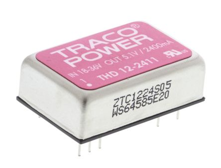 TRACOPOWER THD 12 12W Isolated DC-DC Converter Through Hole, Voltage in 18 → 36 V dc, Voltage out 5V dc