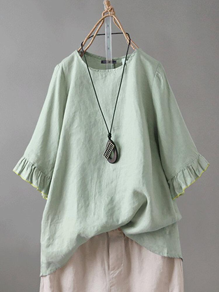 Lace Solid Color Back Button Plus Size Blouse