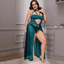 Plus Contrast Lace Cut-out Mesh Dress & Thong
