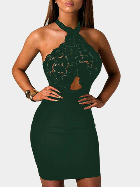 Yoins Green See-through Lace Insert Cut Out Halter Mini Dress
