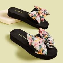 Zapatillas de suela gruesa con diseño de lazo floral
