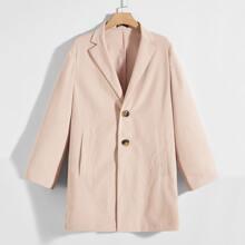 Einreihiger Mantel mit Revers Kragen