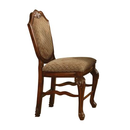BM194239 Fabric Upholstered Wooden Counter Height Armless Chair with Claw Legs  Brown  Set of