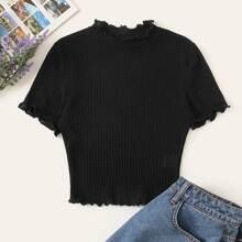 Camiseta corta tejida de canale ribete en forma de lechuga