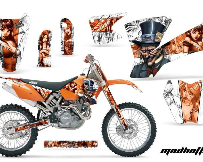 AMR Racing Dirt Bike Graphics Kit Decal Wrap For KTM  SX SXS EXC MXC 2001-2004áHATTER ORANGE WHITE