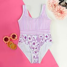Girls Graphic Striped One Piece Swimsuit