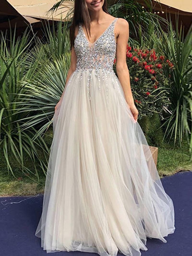 Ericdress Sequins Backless Sleeveless Floor-Length Dress