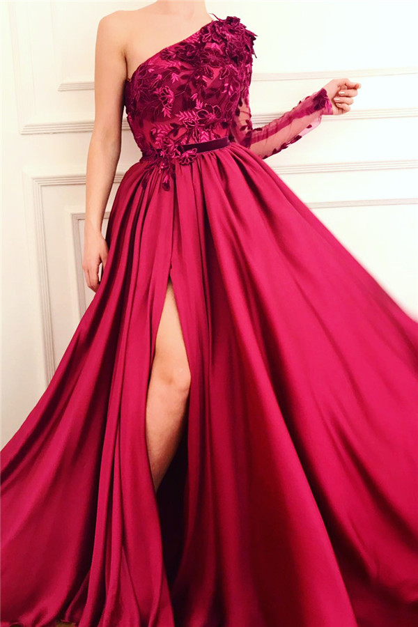 Sexy One Shoulder Front Slit Burgundy Prom Dress | Affordable One Sleeve Appliques Long Prom Dress
