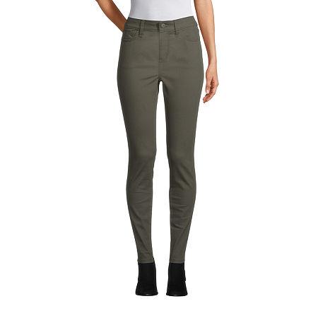 St. Johns Bay Womens Mid Rise Skinny Fit Jean, 12 Petite , Green