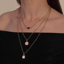 Mehrschichtige Halskette mit Uhr Anhaenger
