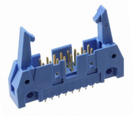 TE Connectivity AMP-LATCH, 2.54mm Pitch, 16 Way, 2 Row, Straight PCB Header, Through Hole