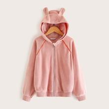 Girls 3D Ear Design Hooded Velvet Jacket