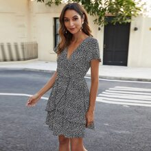 All Over Print V-neck A-line Dress