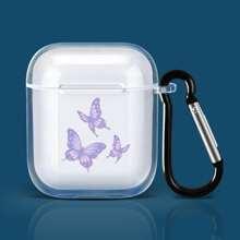 Funda de Airpods transparente con estampado de mariposa
