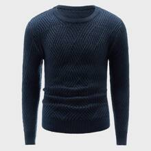 Jersey de cuello redondo tejido con textura