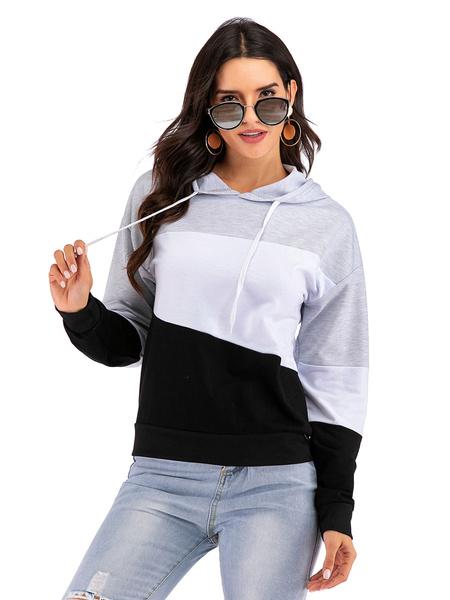 Milanoo Women\'s Hoodie Grey Long Sleeves Color Block Cotton Classic Winter Hooded Sweatshirt