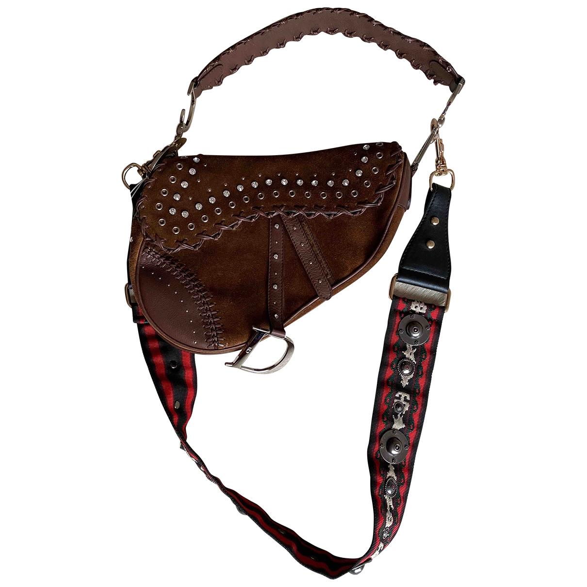 Dior - Sac a main Saddle pour femme en suede - camel