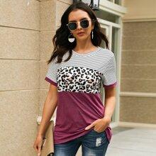 Camiseta de manga corta de rayas y leopardo en contraste