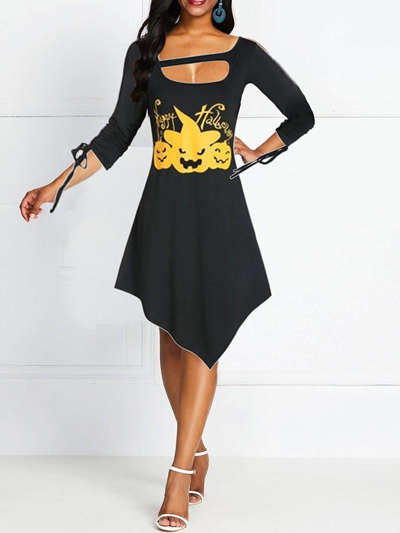 Ericdress Halloween Costume Asymmetrical Long Sleeve Mid-Calf Print Standard-Waist Casual Dress