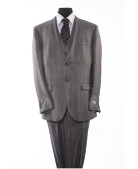 Mens Grey 2 Piece 2 Button Suit