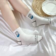 1pair Milk Print Socks