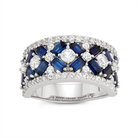 Womens Lab Created Blue Sapphire Sterling Silver Cocktail Ring, 8 , No Color Family