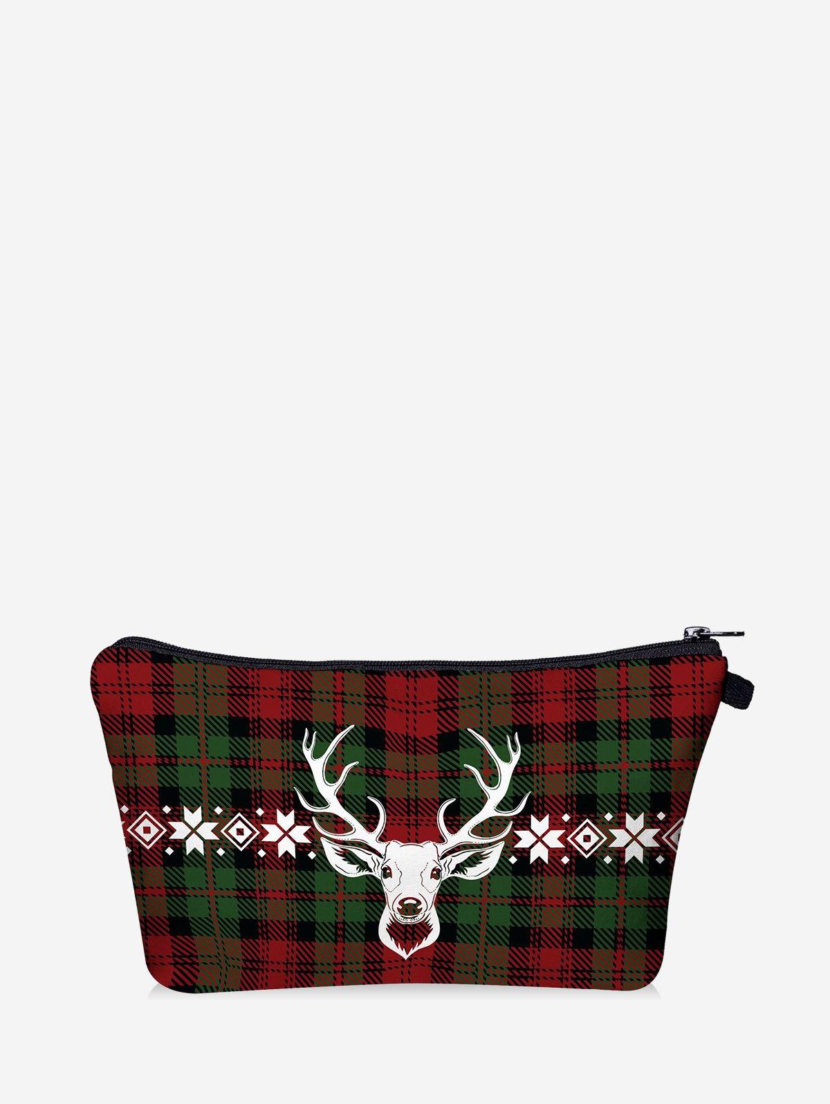 Christmas Plaid Elk Digital Print Storage Makeup Bag