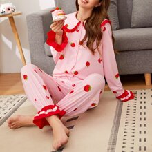 Strawberry Print Frill Trim Button Up Top and Pants PJ Set
