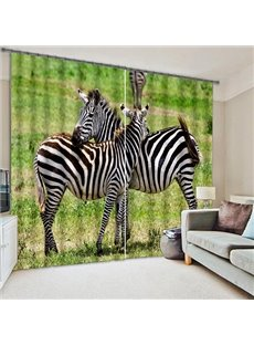 3D Two Zebras in Grassland Printed Animal Scenery Thick Polyester Decorative and Shading Curtain