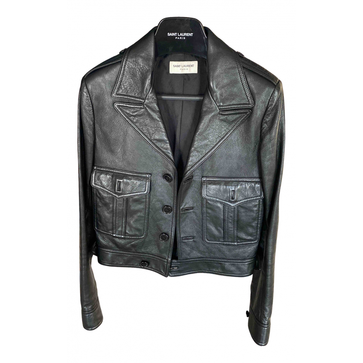 Saint Laurent N Black Leather Leather jacket for Women 34 FR