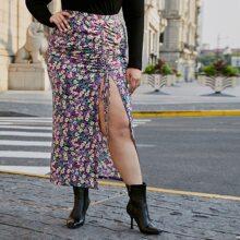 Plus Allover Floral Print Drawstring Ruched Split Thigh Skirt