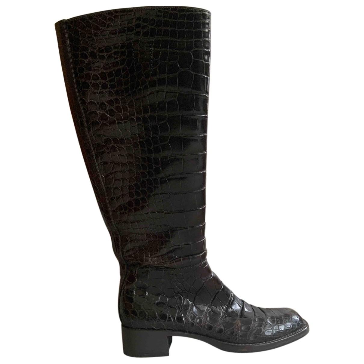 Prada - Bottes   pour femme en crocodile - marron