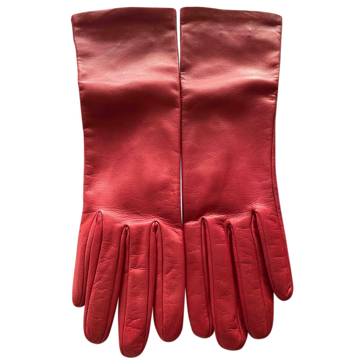 Prada N Red Leather Gloves for Women 6.5 Inches