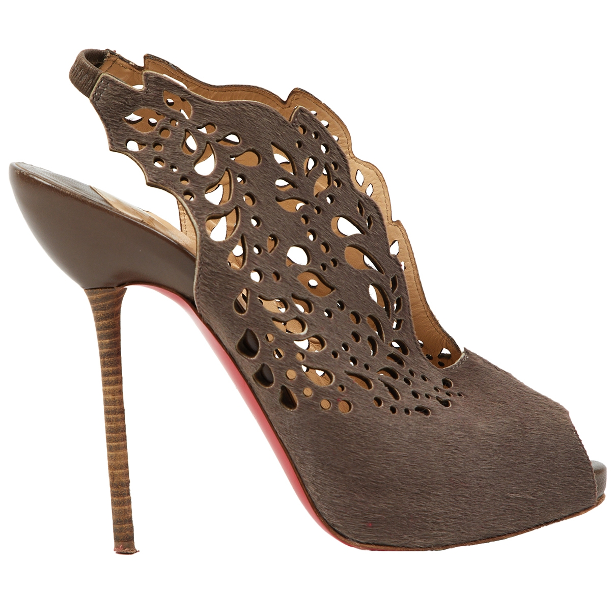 Christian Louboutin \N Pumps in  Braun Kalbsleder in Pony-Optik