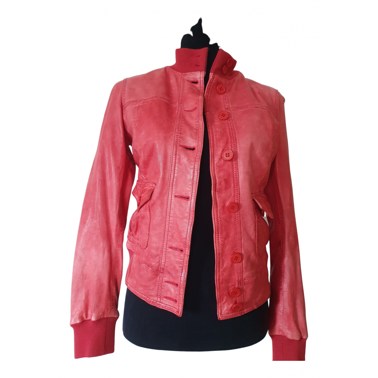 Le Sentier \N Red Leather jacket for Women 42 IT