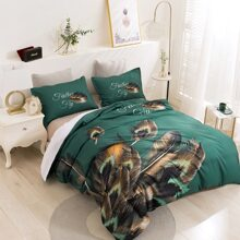 Feather Print Bedding Set Without Filler