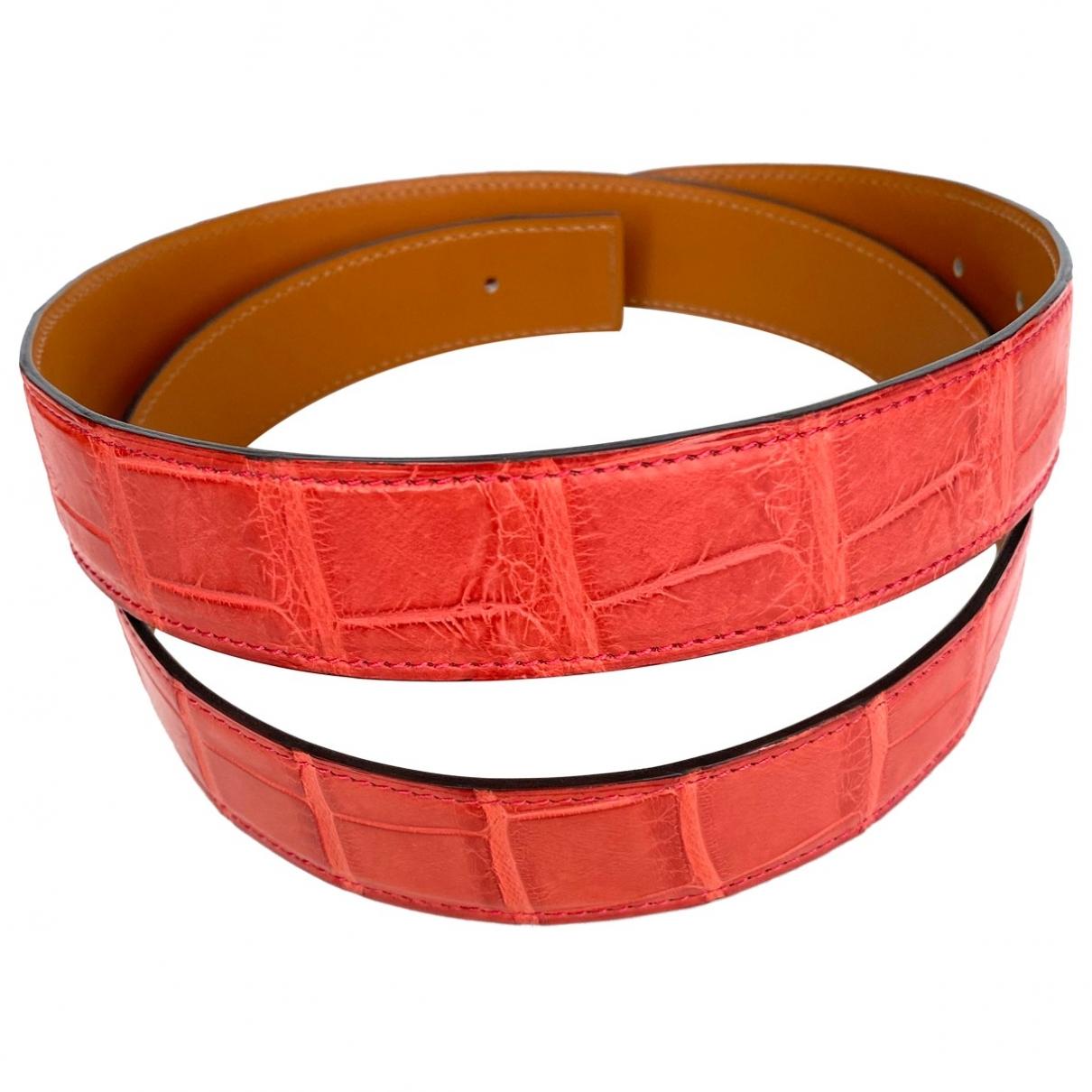 Hermes Cuir seul / Leather Strap Guertel in  Rot Krokodil