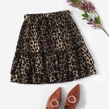 Mehrschichtiger Rock mit Kordelzug um die Taille und Leopard Muster