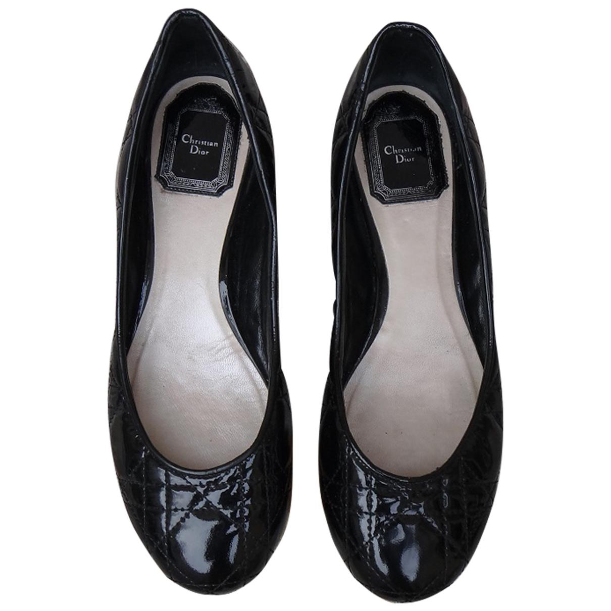 Dior - Ballerines   pour femme en cuir verni - noir