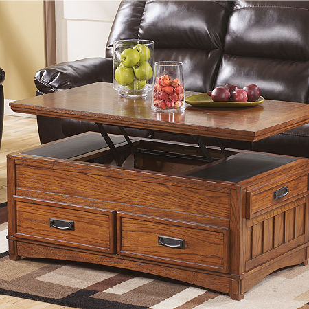 Signature Design by Ashley Cross Island Lift-Top Cocktail Table, One Size , Brown