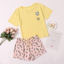Pineapple & Slogan Graphic Knot Detail PJ Set