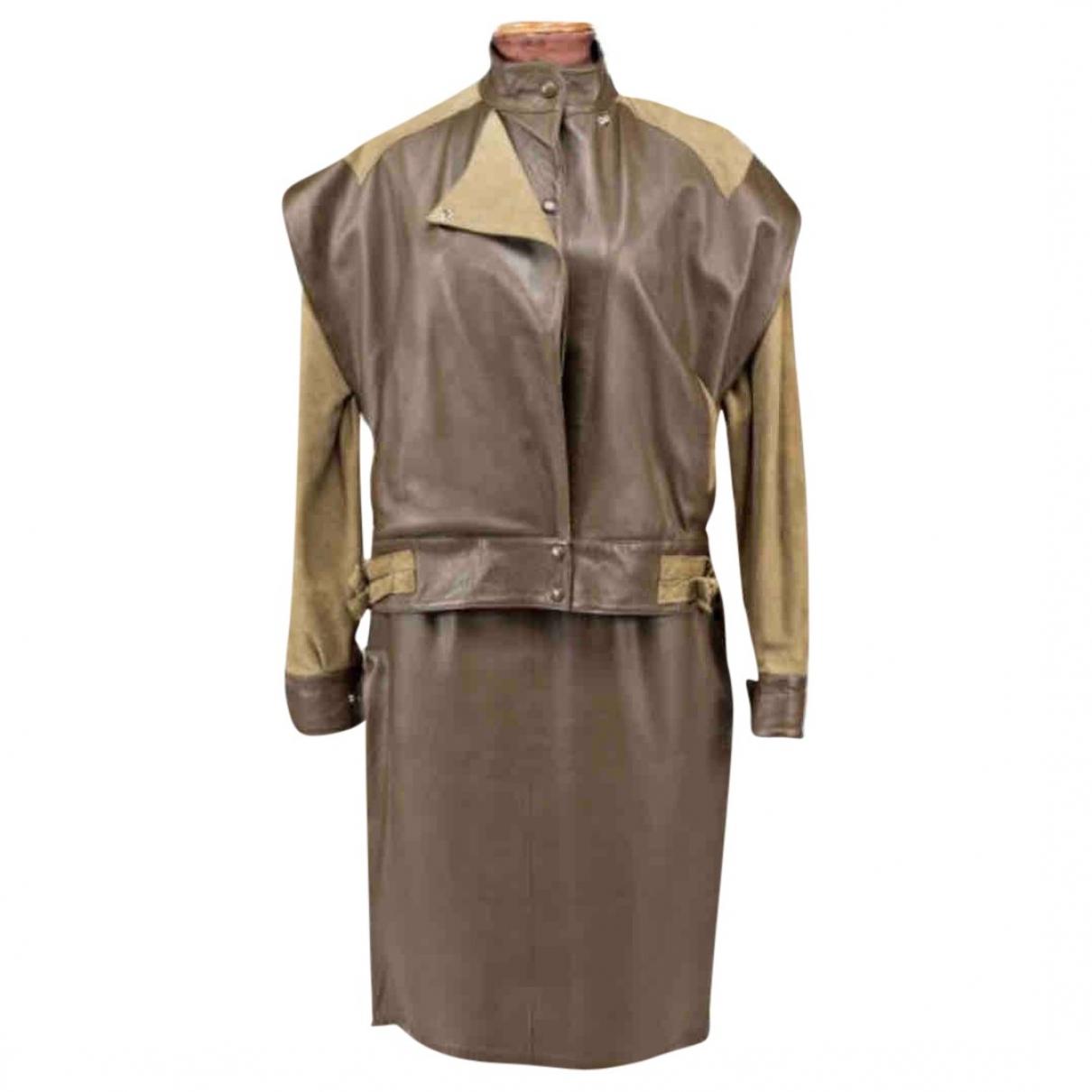 Yves Saint Laurent - Combinaison   pour femme en cuir - kaki