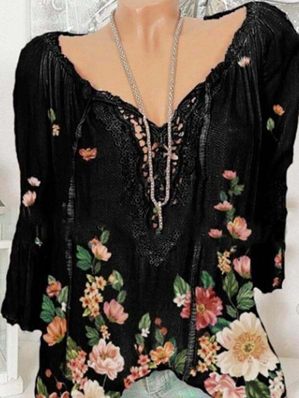 Plus Size Bell Sleeve Lace Insert Floral Print Top