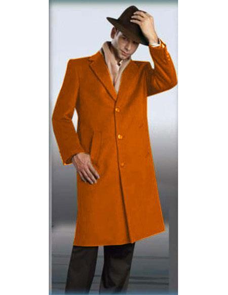 Mens Rust Authentic Alberto Nardoni Brand Full Length Coat Topcoat